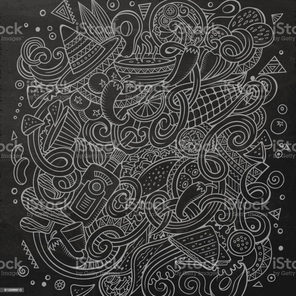 Dibujos animados lindos garabatos a mano ilustración dibujada comida mexicana. Tiza - ilustración de arte vectorial