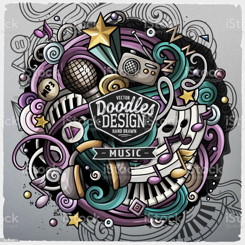 Cartoon cute doodles hand drawn Music illustration
