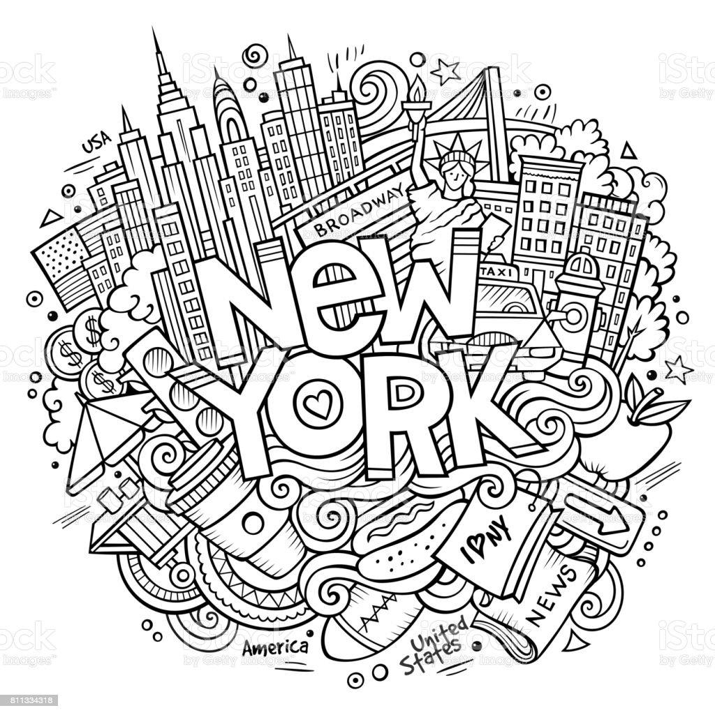Ilustración de Doodles Lindos Dibujos Animados Dibujado Inscripción ...