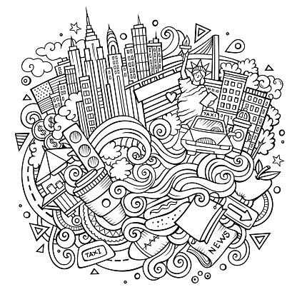 Cartoon cute doodles hand drawn NYC illustration
