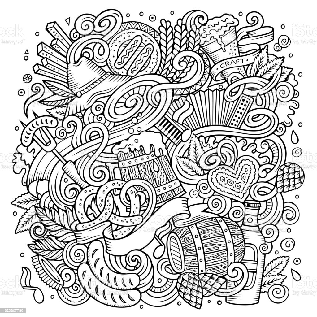 Cartoon cute doodles hand drawn Oktoberfest illustration vector art illustration