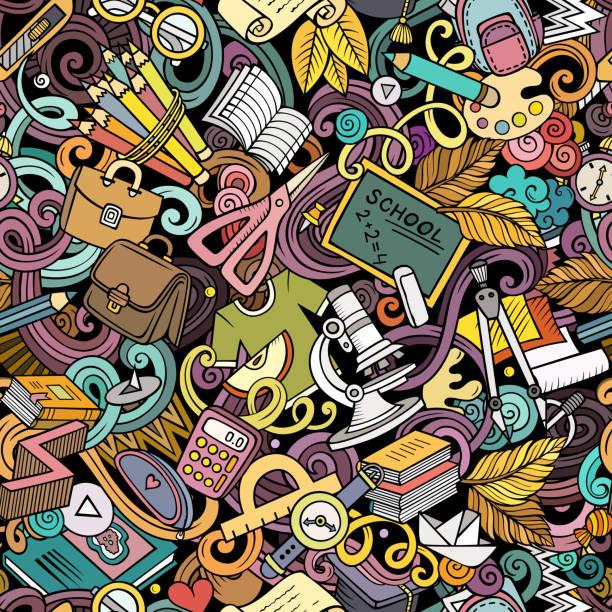 Niedliche Cartoon-Kritzeleien hand gezeichnetes Schule nahtloses Muster – Vektorgrafik