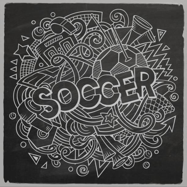 niedliche cartoon-kritzeleien hand gezeichneten fußball-illustration - fußballkunst stock-grafiken, -clipart, -cartoons und -symbole