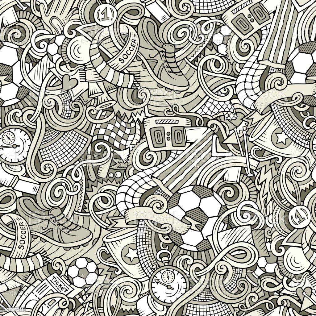 Niedliche Cartoon-Kritzeleien hand gezeichnetes Fußball nahtloses Muster – Vektorgrafik