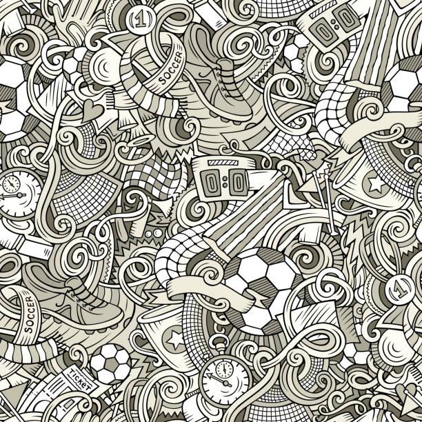 niedliche cartoon-kritzeleien hand gezeichnetes fußball nahtloses muster - fußballkunst stock-grafiken, -clipart, -cartoons und -symbole