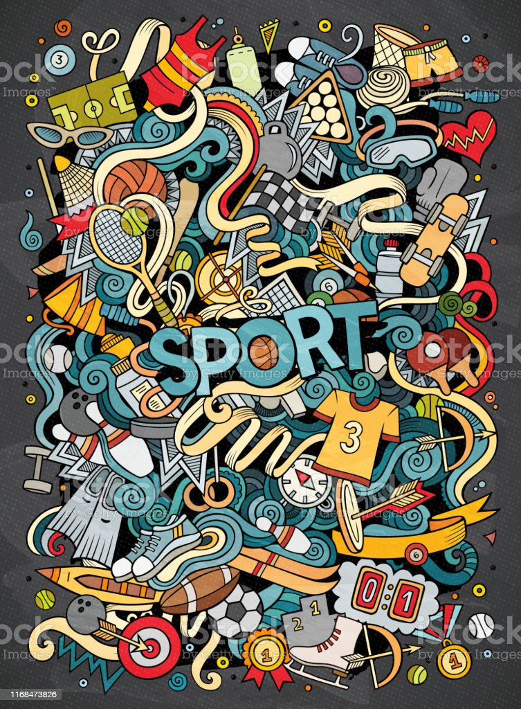 Cartoon cute doodles hand drawn Sport illustration. Colorful...