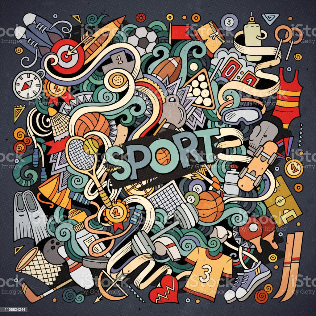 Cartoon cute doodles hand drawn Sport illustration. Colorful...