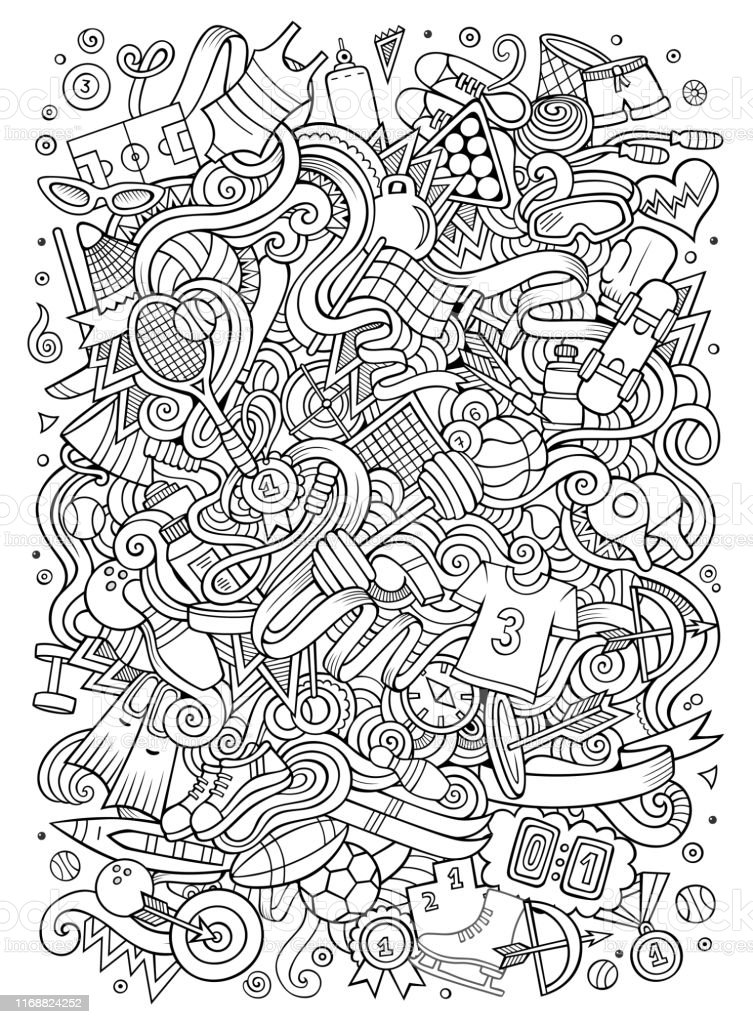 Cartoon cute doodles hand drawn Sport illustration. Line art...