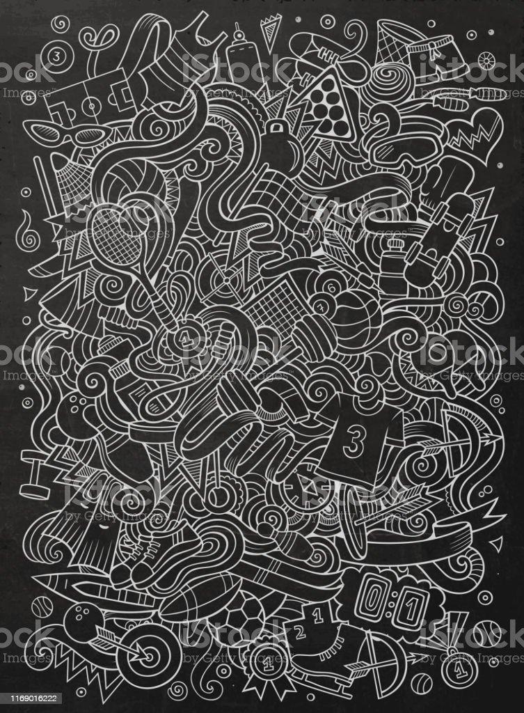 Cartoon cute doodles hand drawn Sport illustration. chalkboard...