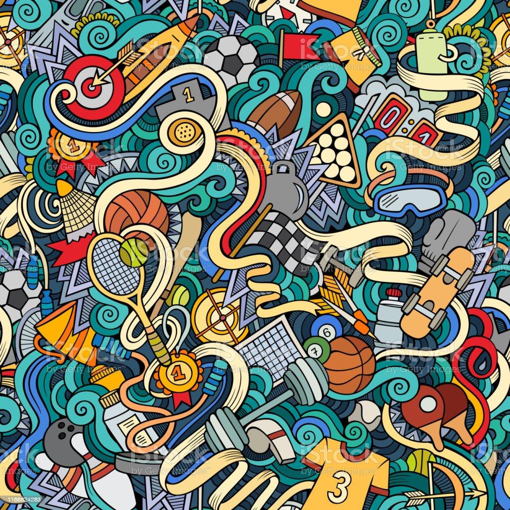 Cartoon cute doodles hand drawn Sport seamless pattern. Colorful...