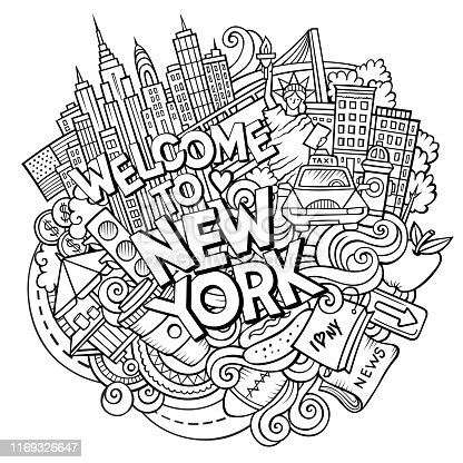 Cartoon cute doodles hand drawn Welcome to New York inscription. Sketch illustration with american theme items. Line art detailed, with lots of objects background. Funny vector artwork
