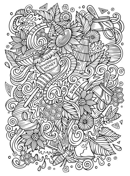 Cartoon niedliche Doodles Honig Illustration – Vektorgrafik