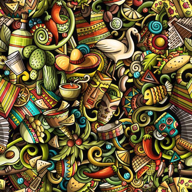 Niedliche Cartoon Kritzeleien Lateinamerika nahtloses Muster – Vektorgrafik
