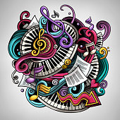 Cartoon cute doodles hand drawn Music illustration. Colorful detailed, with lots of objects background. All items are separate. Funny vector artwork