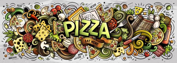 Niedliche Cartoon Kritzeleien Pizza Wort – Vektorgrafik