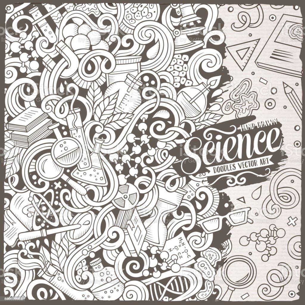 Cartoon Cute Doodles Science Frame Illustration Stock Vector Art ...