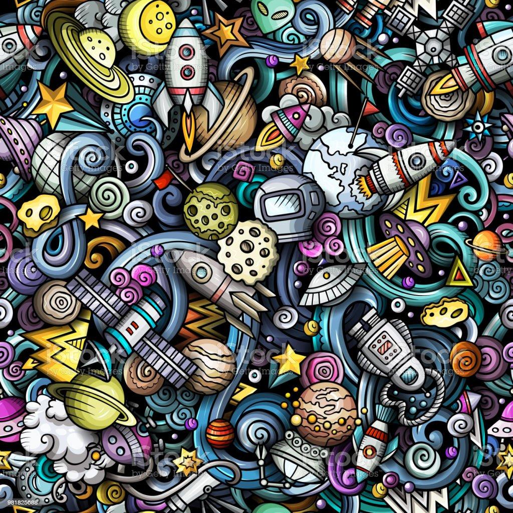Niedliche Cartoon Kritzeleien Raum nahtloses Muster – Vektorgrafik