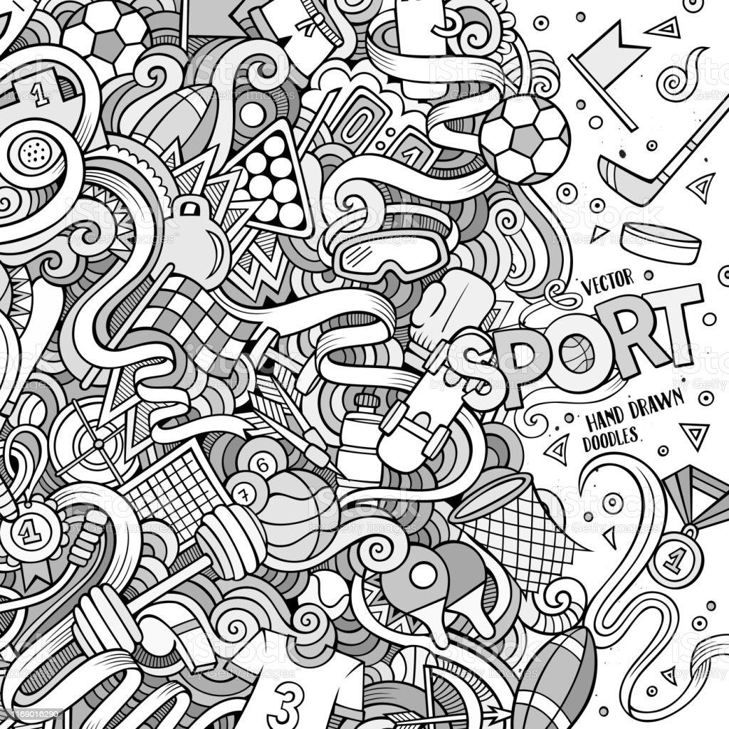 Cartoon cute doodles hand drawn Sport frame design. Line art...
