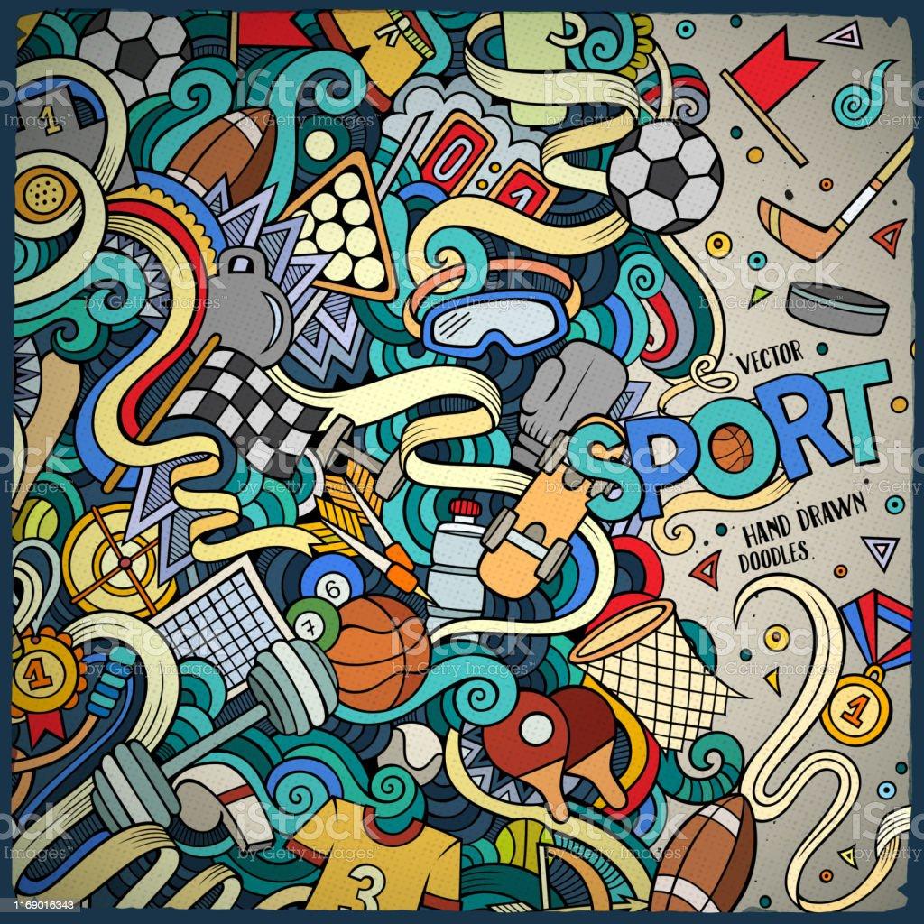 Cartoon cute doodles hand drawn Sport frame design. Colorful...
