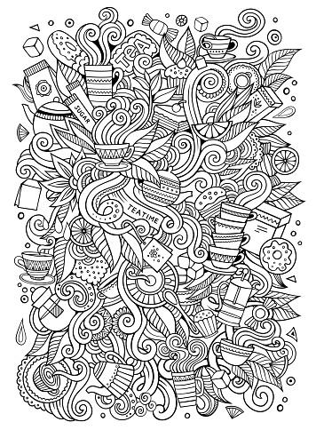 Cartoon cute doodles Tea time illustration