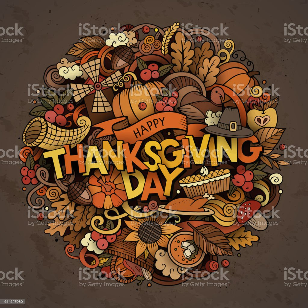 Cartoon cute doodles Thanksgiving inscription vector art illustration