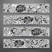 Cartoon cute line art vector hand drawn doodles travel corporate identity. 4 horizontal journey banners design. Templates set