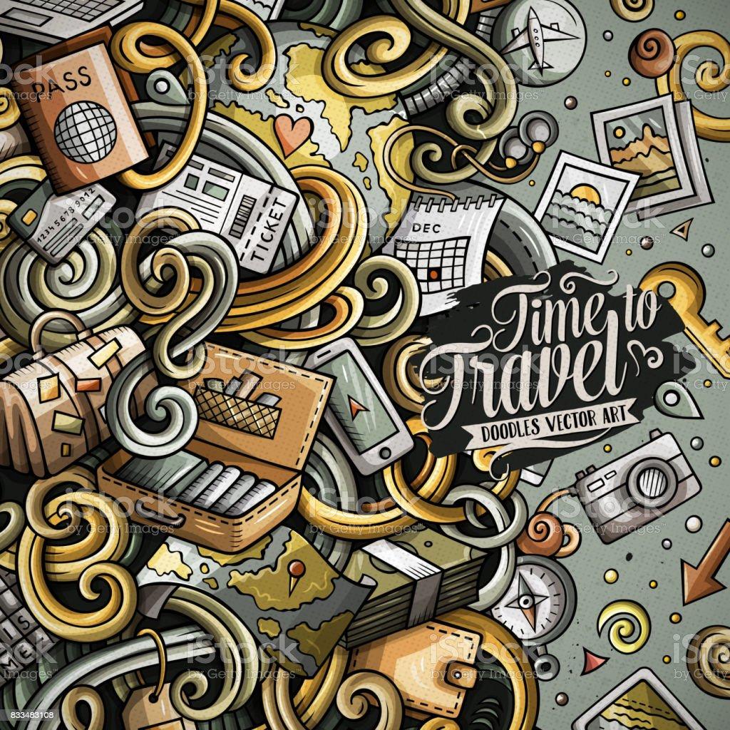 Cartoon cute doodles Travel frame design vector art illustration