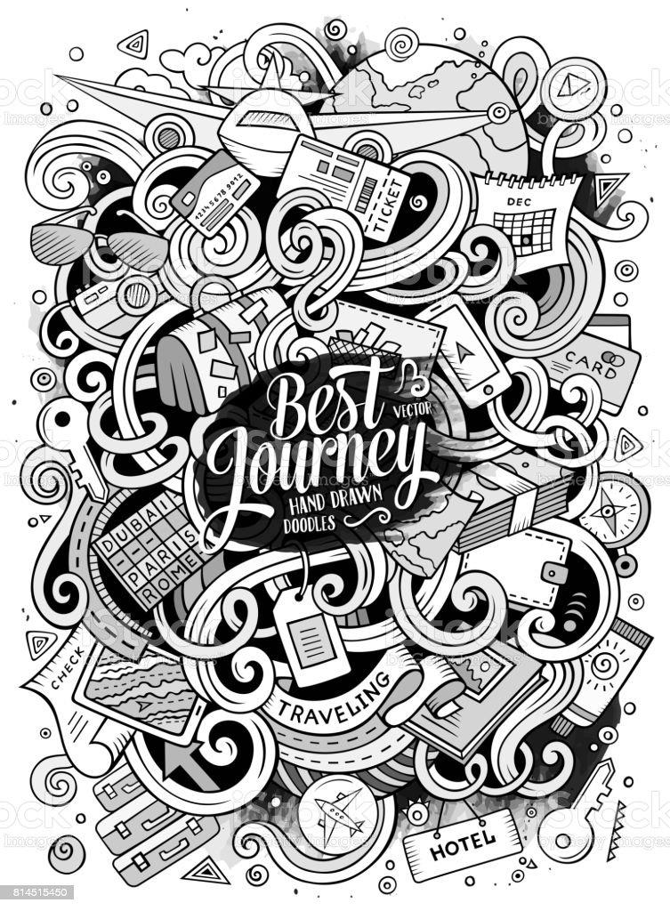 Cartoon cute doodles traveling illustration vector art illustration