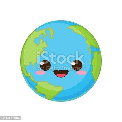 istock Cartoon cute Earth planet character 1203921962