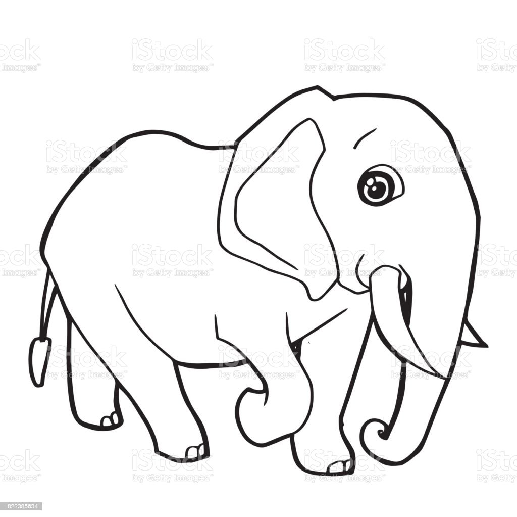 Cartoon Cute Elephant Coloring Page Vector Illustration Royalty Free