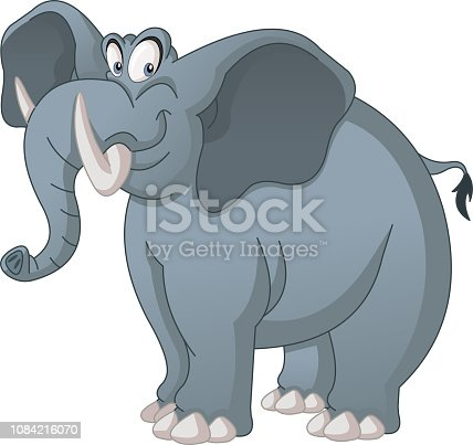 Cartoon cute elephant. Vector illustration of funny happy animal.