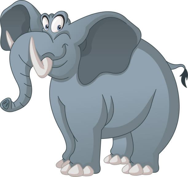 Cartoon cute elephant. Vector illustration of funny happy animal. Cartoon cute elephant. Vector illustration of funny happy animal. elephant stock illustrations