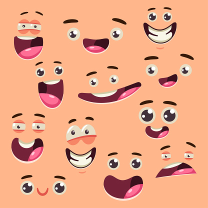 Cartoon cute face collection. Vector set of eyes and mouths with different expressions and emotions isolated on background.
