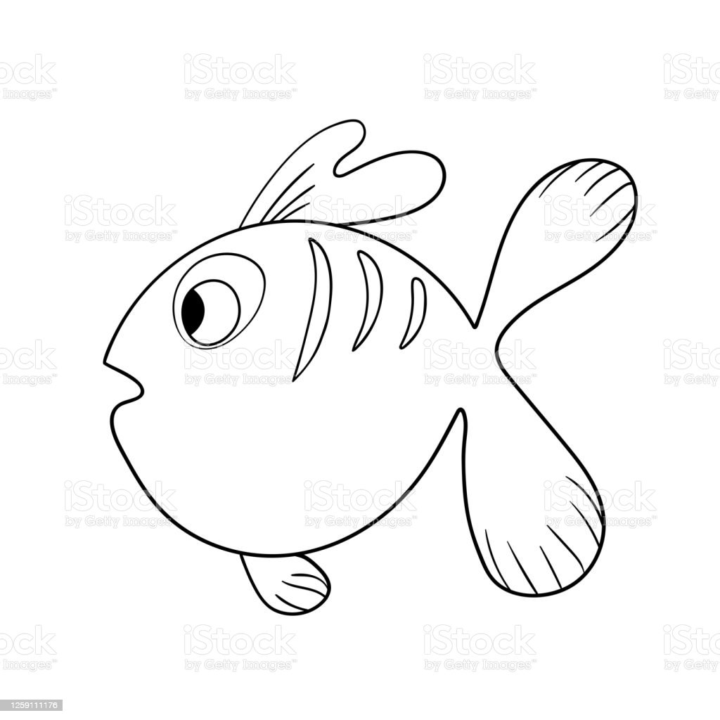 Cartoon Cute Fish Hand Drawing Outline Colouring Pictures Isolated Items  Suitable For Childrens Coloring And Prints Adorable Character For Card  Kindergarten Stock Vector Illustration Stock Illustration - Download Image  Now - IStock