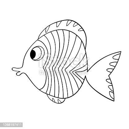 Cartoon cute fish. Hand drawing outline colouring pictures. Isolated items. Suitable for children's coloring and prints. Adorable character for card, kindergarten. Stock vector illustration.