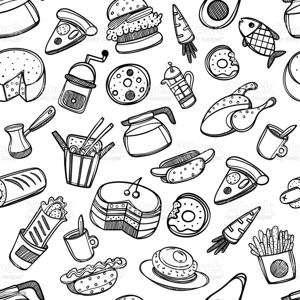 Cartoon Cute Food And Kitchenware On White Background Seamless