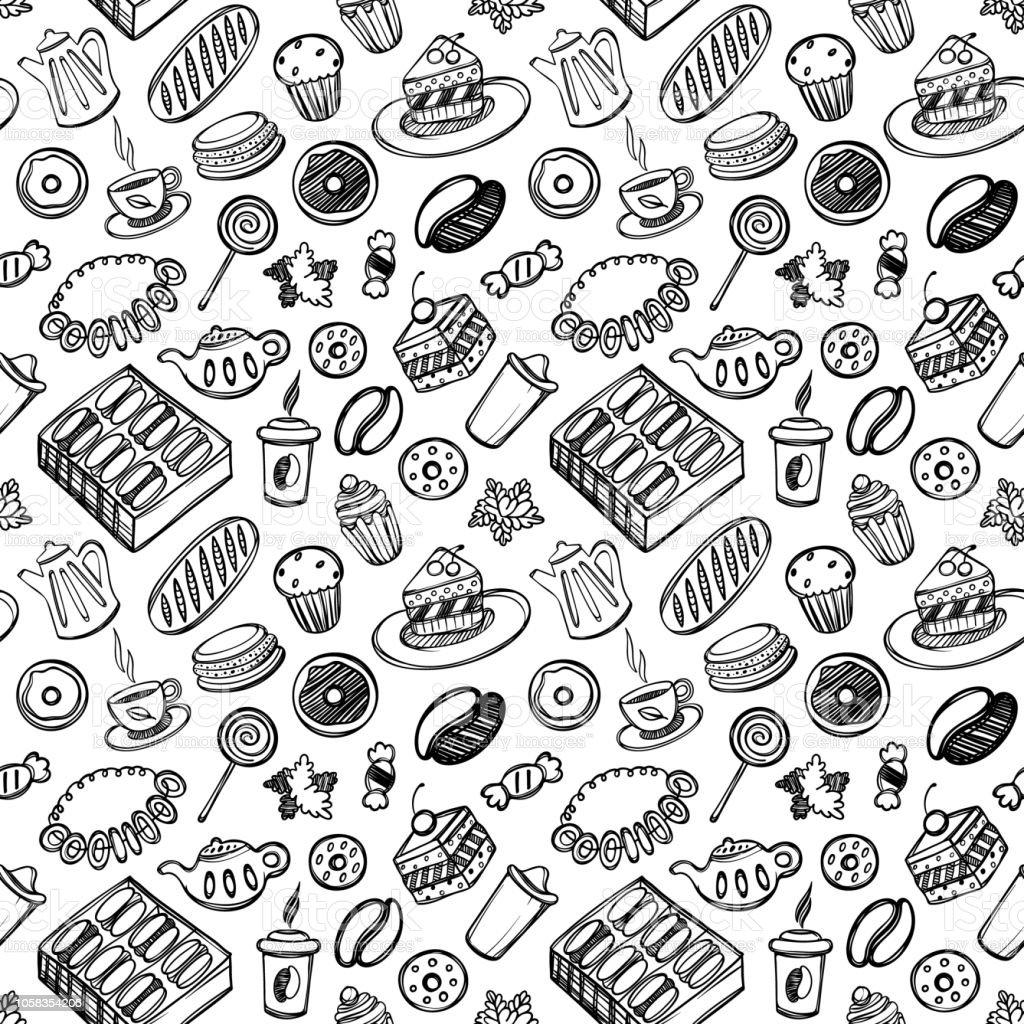 Dibujos animados lindo alimentos y utensilios de cocina en fondo blanco. De patrones sin fisuras. Ilustración linear. Libro de zentangle. Tiempo de postre - ilustración de arte vectorial