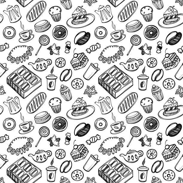 ilustraciones, imágenes clip art, dibujos animados e iconos de stock de dibujos animados lindo alimentos y utensilios de cocina en fondo blanco. de patrones sin fisuras. ilustración linear. libro de zentangle. tiempo de postre - comida casera
