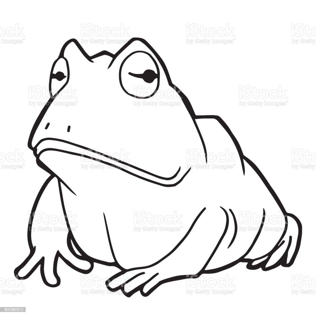 Cartoon Niedliche Frosch Färbung Seite Vektorillustration Stock ...