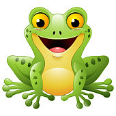 Vector illustration of Cartoon cute frog