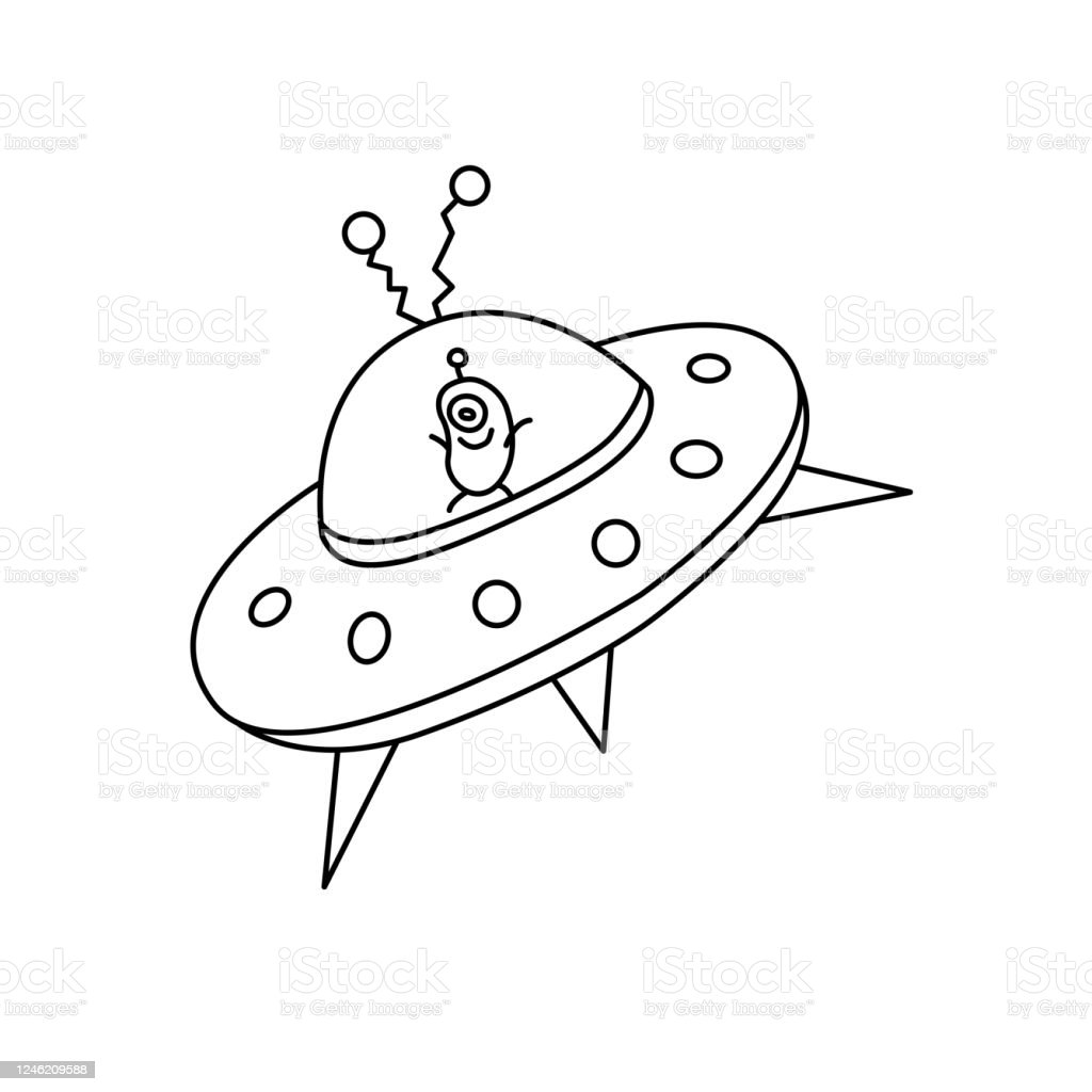 Cartoon Cute Funny Alien In Flying Saucer Ufo Contour Simple Vector Illustration Icon Black And White Doodle Stock Illustration Download Image Now Istock