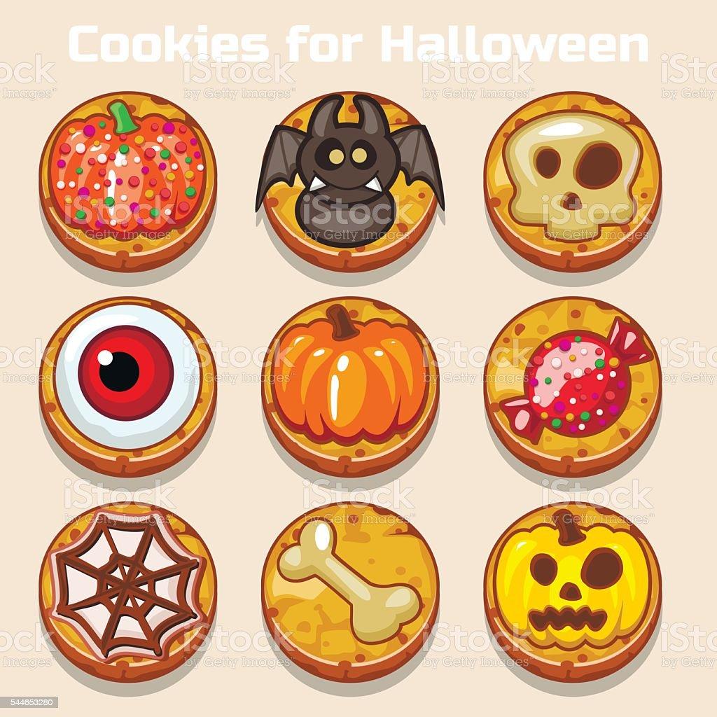 Cartoon Cute funny Halloween Cookies vector art illustration