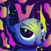 Cartoon cute futuristic illustration - Sphynx cat in space.
