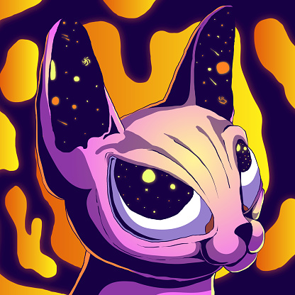 Cartoon cute futuristic illustration - Cat in space.