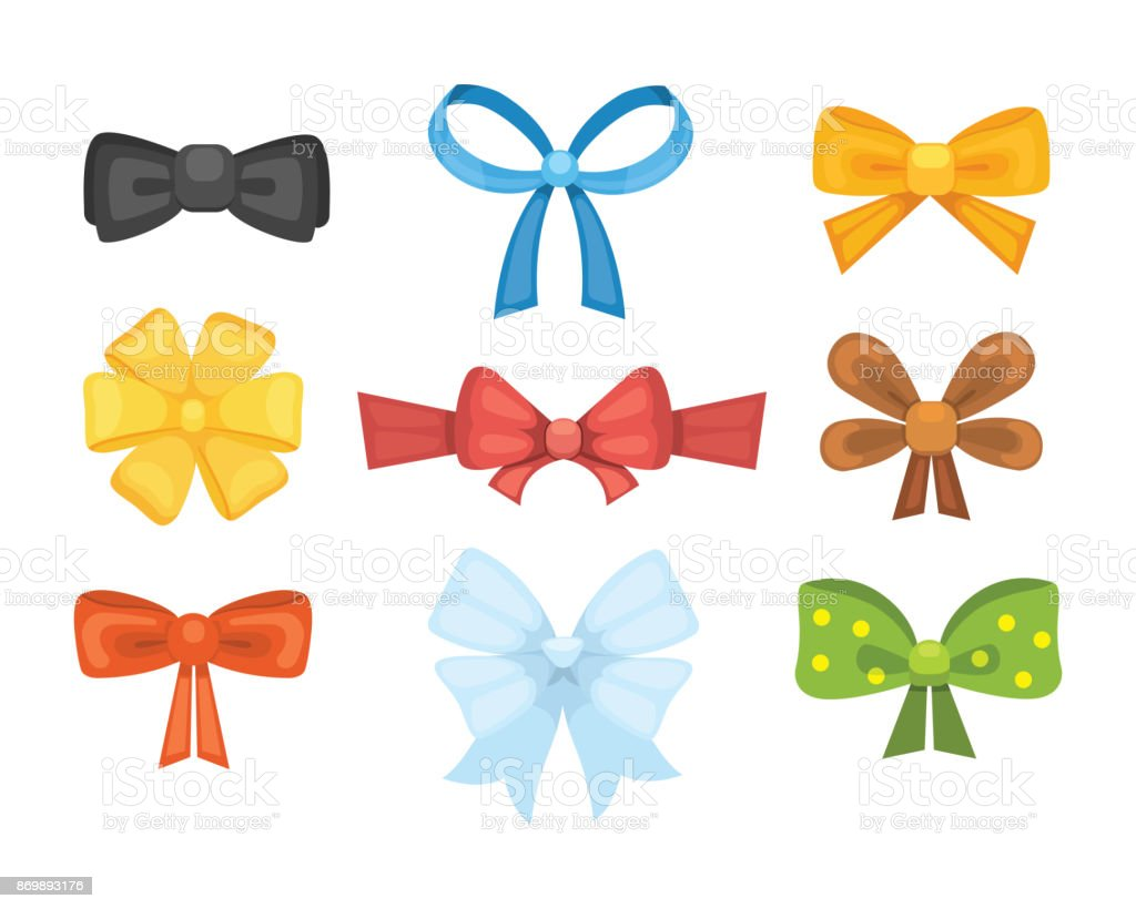 リボンでかわいいギフト弓を漫画しますカラー蝶タイ お祝いのベクター