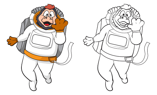 cartoon cute gorilla astronaut