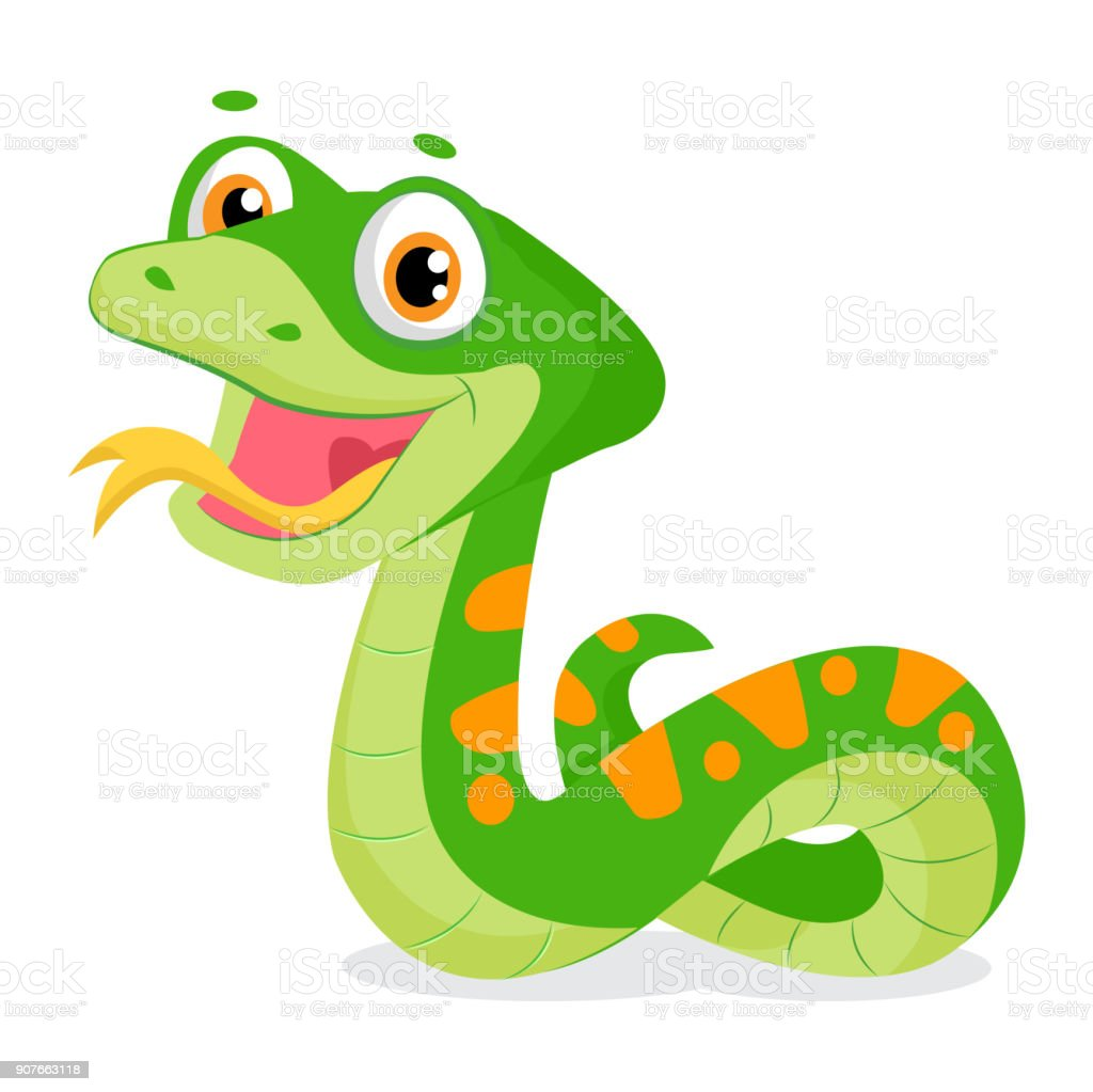 Dessin animé mignon sourire vert serpent Vector Illustration animale. - Illustration vectorielle