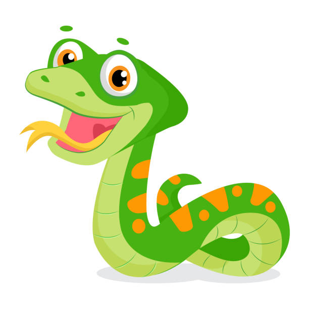 cartoon cute green smiles snake vector animal illustration. - reptiles stock illustrations