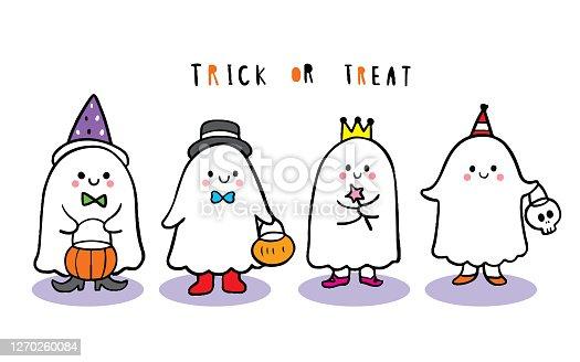 istock Cartoon cute Halloween day, Ghosts trick or treat vector. 1270260084