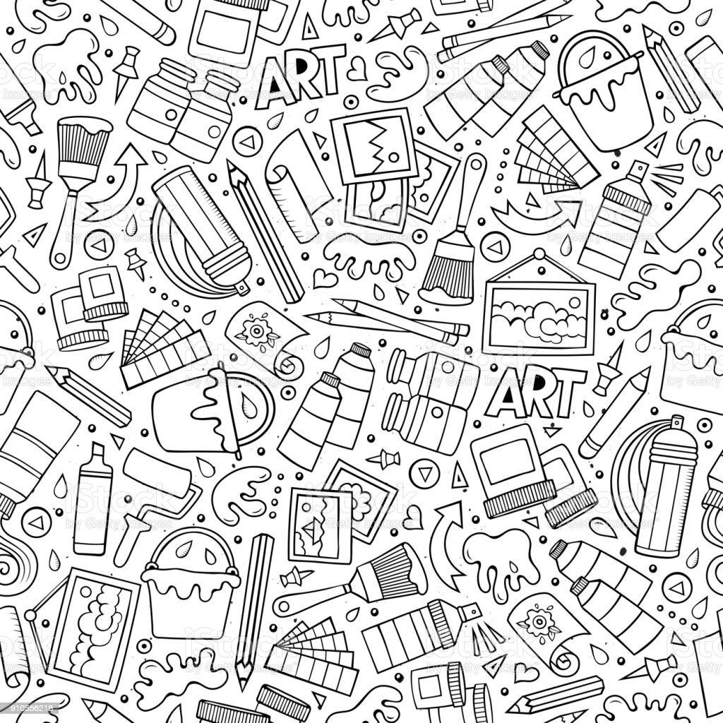 Ilustración de Dibujos Animados Lindo Mano Dibujado Patrones Sin ...